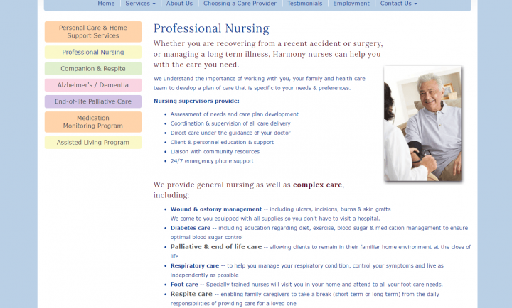 Responsive Website Design - Harmony Health Care