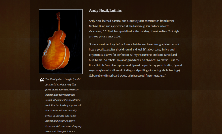 Responsive WordPress Website Design - Nezil Guitars