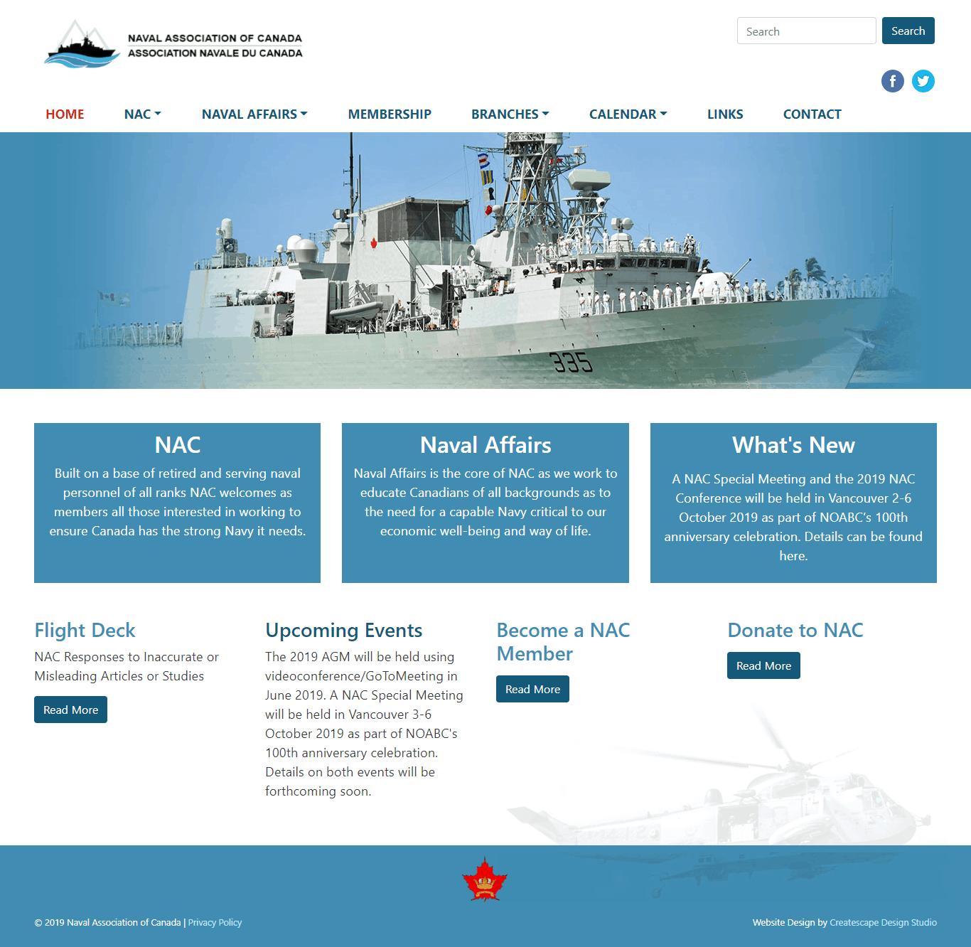 Website Re Design For The Naval Association Of Canada Createscape Design Studio