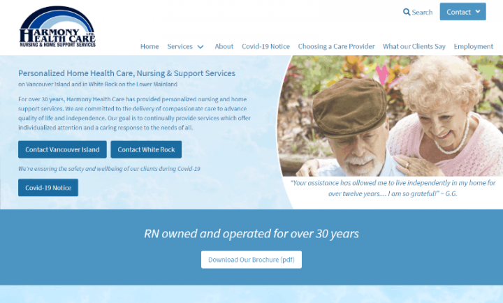 Website Re-design for Harmony Health Care Ltd.