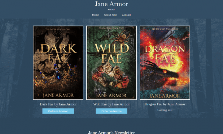 New WordPress website design for Jane Armor, Author